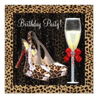 Cocktails High Heel Shoes Red Leopard Birthday Card