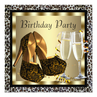 Cocktails High Heel Shoes Womans Leopard Birthday Card