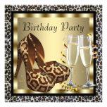 Cocktails High Heel Shoes Womans Leopard Birthday Custom Invitation