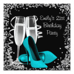 Cocktails High Heels Black and Teal Birthday Custom Invites