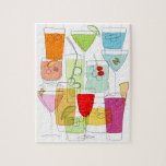 "Cocktails jigsaw jigsaw puzzle<br><div class=""desc"">Is it cocktails o&#39;clock yet? Using simple lines and bold colours,  this design will get your tastebuds tingling!</div>"