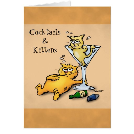 Cocktails & Kittens Cartoon Blank Inside Note Card