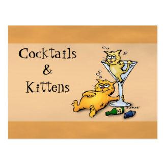 Cocktails & Kittens Gold Cartoon Post Card