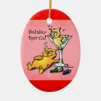 Cocktails & KIttens Holiday Spirits Red Ornament