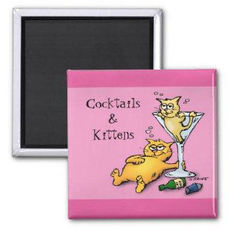 Cocktails & Kittens Pink Cartoon Magnet