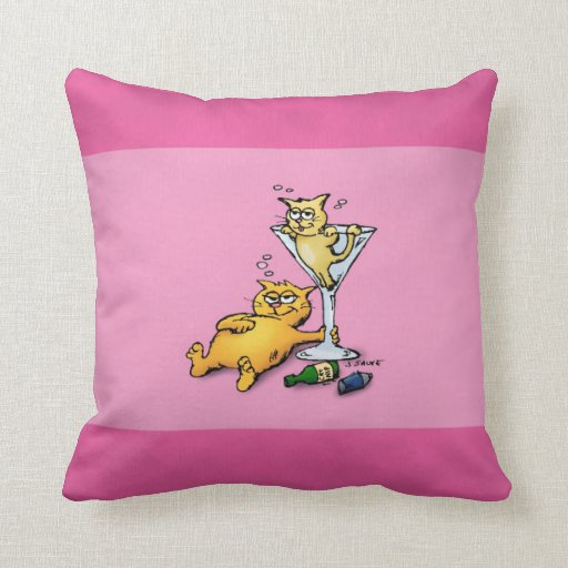 Cocktails & Kittens Pink Cartoon Pillow