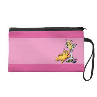 Cocktails & Kittens Pink Cartoon Wristlet Purse