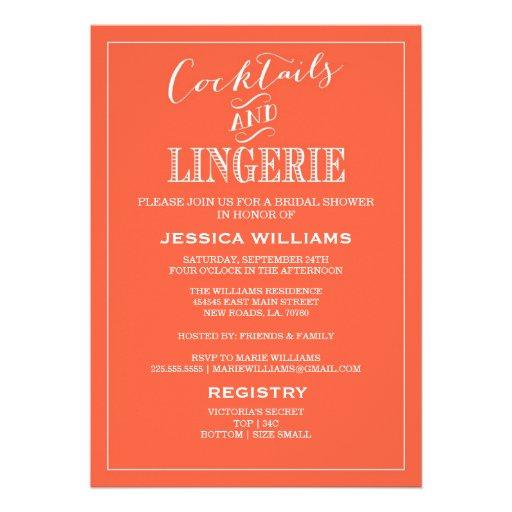 Cocktails & Lingerie Shower Invitations | Coral