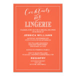 "Cocktails & Lingerie Shower Invitations | Coral 5"" X 7"" Invitation Card"