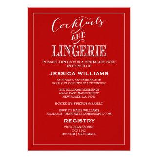 Cocktails & Lingerie Shower Invitations | Red