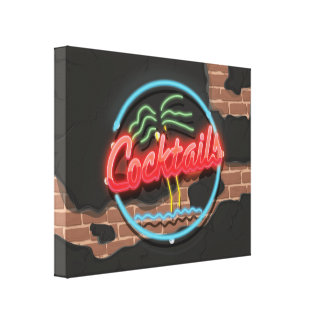 Cocktails Nightclub Neon Canvas Print