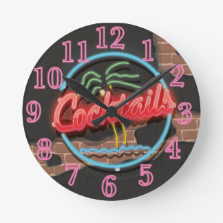 Cocktails Nightclub Neon sign Round Clock