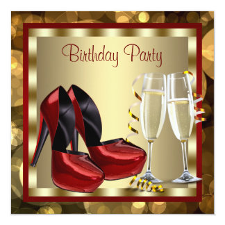 Cocktails Red High Heel Shoes Birthday Party Announcements