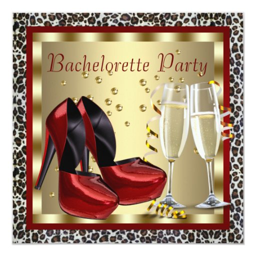 Cocktails Red High Heel Shoes Leopard Bachelorette 5.25x5.25 Square Paper Invitation Card