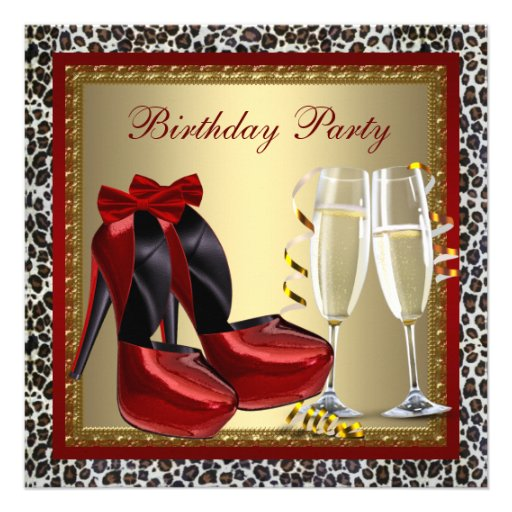 Cocktails Red High Heel Shoes Leopard Birthday Custom Announcement