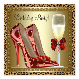Cocktails Red High Heel Shoes Leopard Birthday Personalized Invites