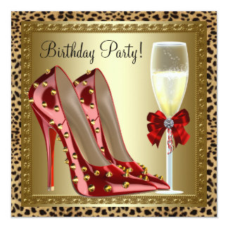 Cocktails Red High Heel Shoes Leopard Birthday Invitation