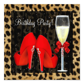 Cocktails Red High Heel Shoes Leopard Birthday Custom Invitations