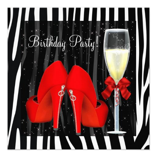 Cocktails Red High Heel Shoes Zebra Birthday Custom Invitations