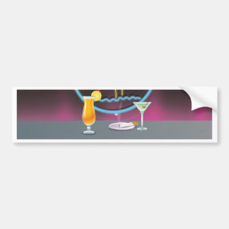 Cocktails retro night club bumper sticker