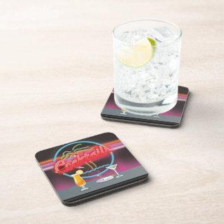 Cocktails retro night club drink coaster
