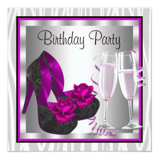 Cocktails Shoes Womans Hot Pink Birthday Party 5.25x5.25 Square Paper Invitation Card