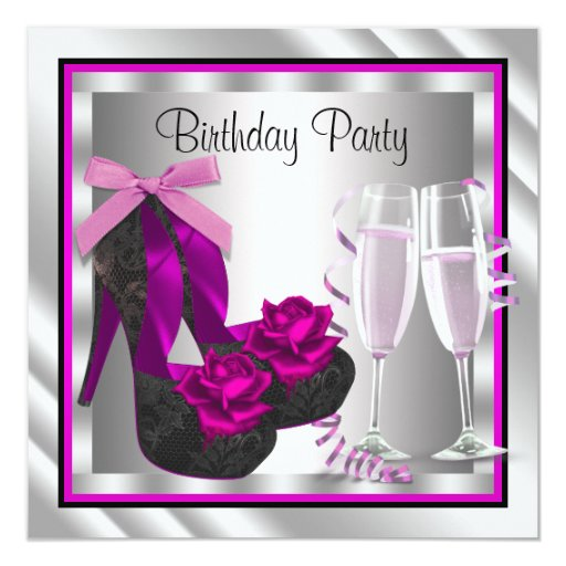 Cocktails Shoes Womans Hot Pink Black Birthday Invitations