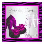 Cocktails Shoes Womans Purple Zebra Birthday Party Invites