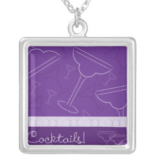 Cocktails! Silver Plated Necklace