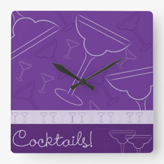 Cocktails! Square Wall Clock