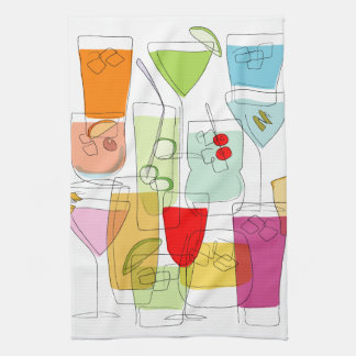 Cocktails tea towel
