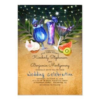 Cocktails Tropical Beach Lights Wedding Card