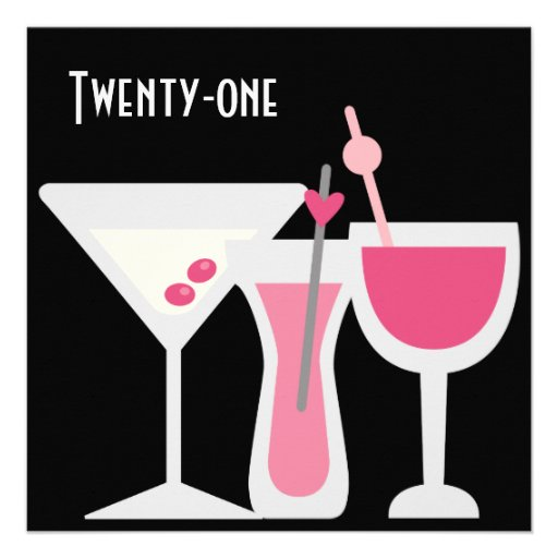 Cocktails Womans Pink Black 21st Birthday Party Custom Announcement