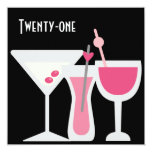 Cocktails Womans Pink Black 21st Birthday Party Invitation