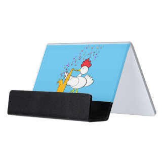 Cocky Sax Player Desk Business Card Holder