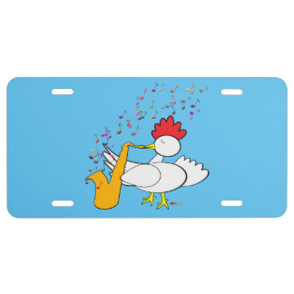 Cocky Sax Player License Plate