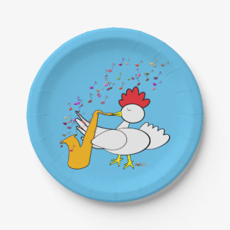 Cocky Sax Player Paper Plate