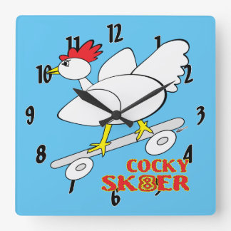 Cocky Skater Square Wall Clock