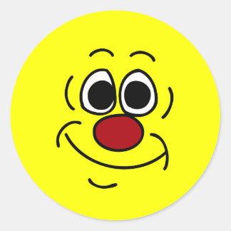 Cocky Smiley Face Grumpey Classic Round Sticker
