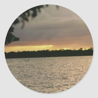 coco beach sunset.jpg classic round sticker