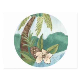 Coco de la hawaiana, piña, diseño del hibisco postal