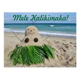 Coco del muñeco de nieve de Mele Kalikimaka de la  Postal