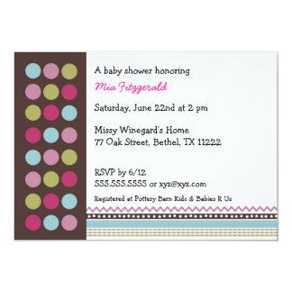 Coco dot Baby Girl Shower Invitation