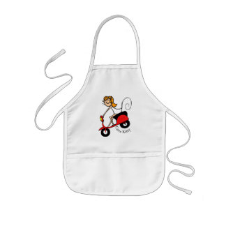 Coco Kitty Rides her little red Scooter Kids' Apron