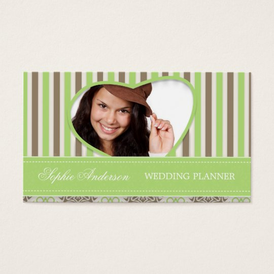 Coco mint strip damask business card