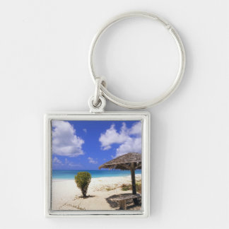 Coco Point Beach, Barbuda, Antigua Silver-Colored Square Keychain