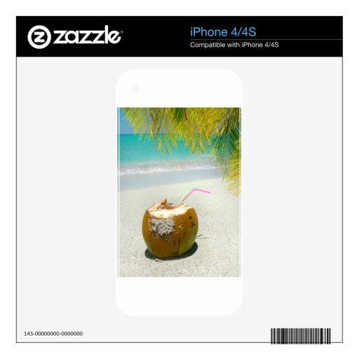 Coco tropical en una playa en el Caribe Calcomanía Para iPhone 4S