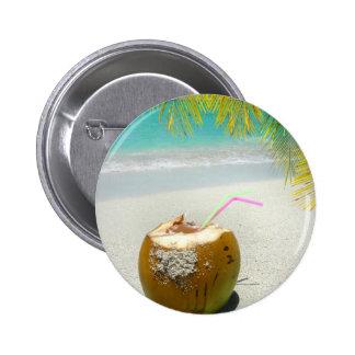 Coco tropical en una playa en el Caribe Pins