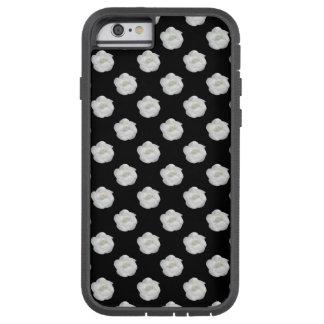 Coco White Camellia on Black Tough Xtreme iPhone 6 Case