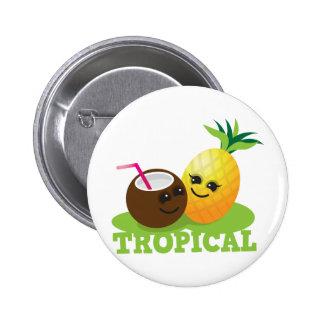 Coco y piña lindos TROPICALES de Kawaii Pin Redondo De 2 Pulgadas